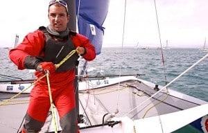 Damien Seguin sur son bateau en course sur la Route du Rhum