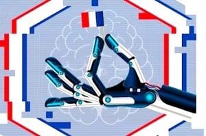 Main de robot tenant un drapeau français