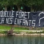 """une affiche devant la foret avec inscrit """"quelle forêt pour nos enfants?"""""""