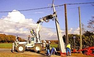 Installation d'une ligne electrique