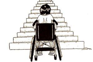 personne en fauteuil roulant devant un escalier, une situation au coeur du Complément de Ressources à l'AAH