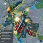 plan lumière: vue du ciel sur Lyon