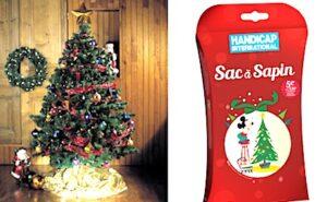 Un sac a sapin sous un arbre de Noel.