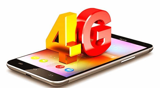 Sigle 4G posé sur un smartphone