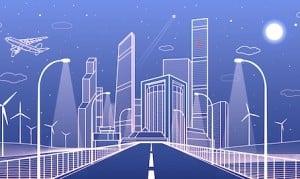 Dessin d'une ville moderne