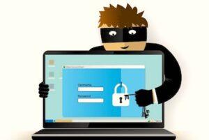 Dessin d'un pirate informatique pour illustrer la sécurité pour les achats de Noël sur le Web