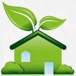 dessin d'une maison verte avec deux feuilles poussant sur le toit
