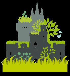 un dessin d'une ville verte