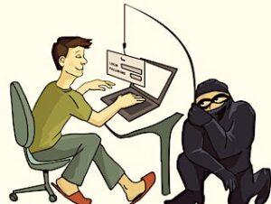 Dessin qui illustre la pratique du phishing.