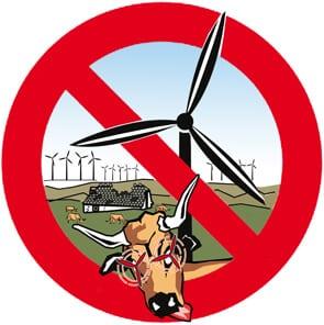 panneau d'interdiction symbole de l'opposition contre les éoliennes offshore Saint-Brieuc