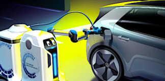 L'innovation Volkswagen, récemment présentée au public, est un robot chargeur autonome pour batterie de voiture.